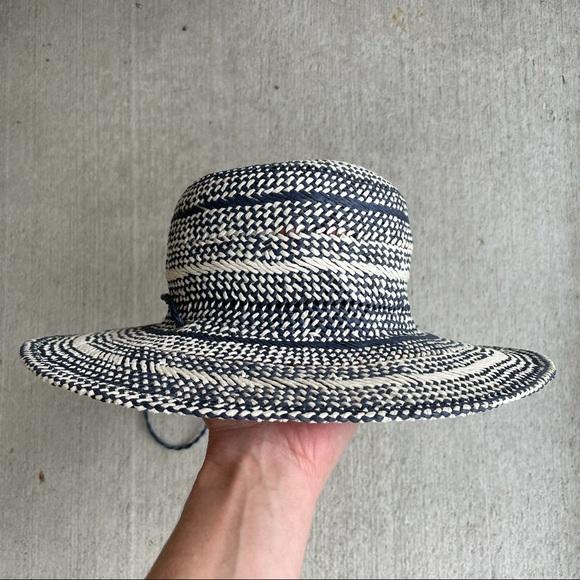 J Crew // navy cream paper straw hat